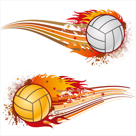 volleyball: volleyball,flames,design element Illustration
