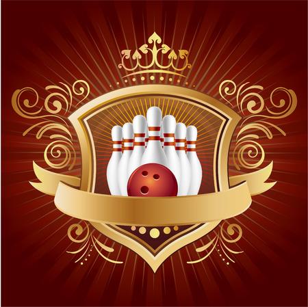 bolos: bolos, escudo, corona, fondo abstracto