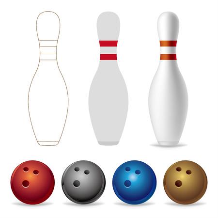 bowling: bolos sobre un fondo blanco