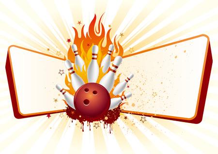 circular silhouette: bowling,flames,design element