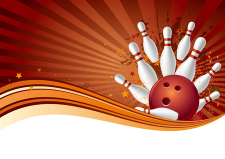 bowling sport design element,abstract background Vector
