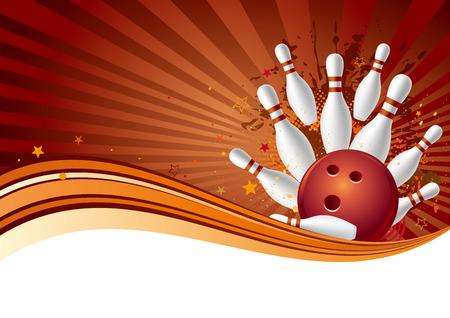 Bowling-Sport-Design-Element, abstrakten Hintergrund  Vektorgrafik
