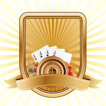 roulette game: cards and poker on a shield Illustration