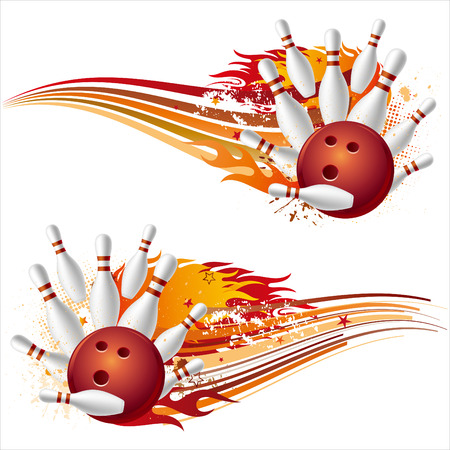 Bowling-Sport-Element mit Flammen