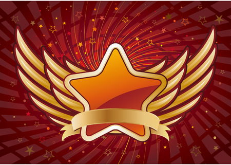 star and wings,red abstract background Vector