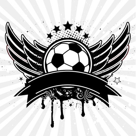 shield with wings: soccer ball and wing