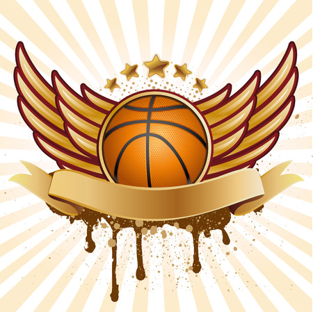 basketball and wing Vector