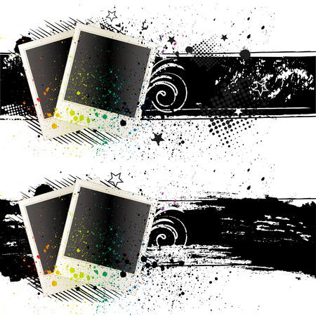 blank photof rames and ink Vector