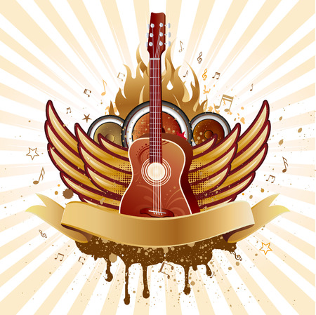 guitar and wings,music theme background Stock Vector - 7696787
