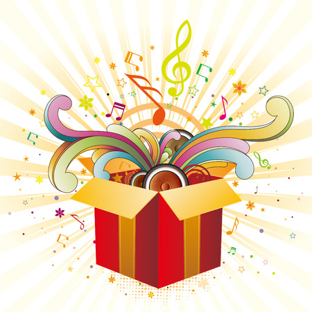 blue gift box: exploding gift box with music elements