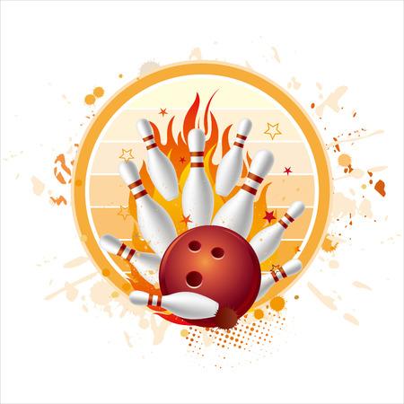 circular silhouette:  illustration of bowling sport Illustration