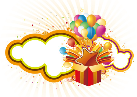 gift box and balloon, celebration background Stock Vector - 7725490