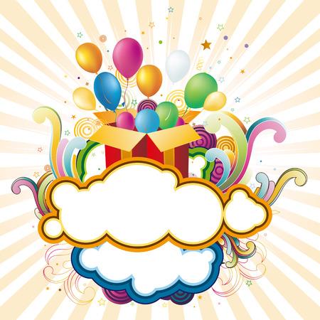globos de cumplea�os: Ilustraci�n de la caja de regalo y globos