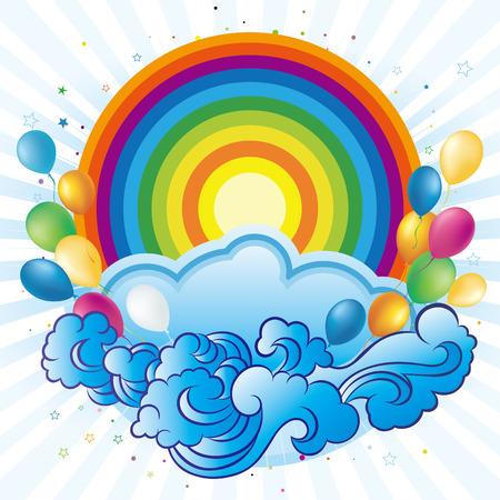 rainbow,balloon,celebration background Vector