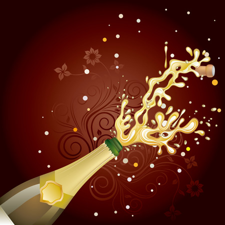 champagne explosion, celebration background Vector