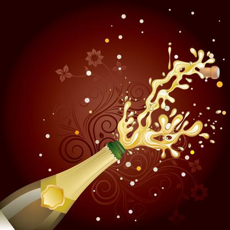 bollicine champagne: esplosione di champagne, sfondo di celebrazione Vettoriali
