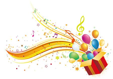 geschenkdoos met muziekelementen
