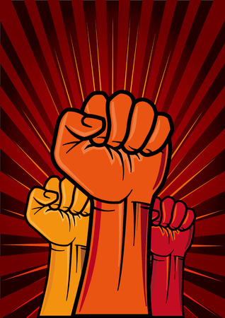 protest man: illustration of clenched fist