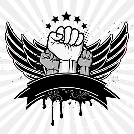 revolution: clenched fist and wing