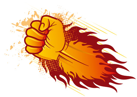 strong symbol: clenched fist and flame