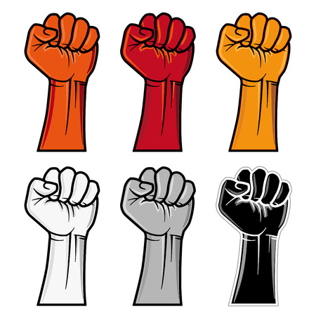 protest signs: clenched fist emblem