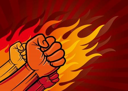 tough man: illustration of revolution fist Illustration
