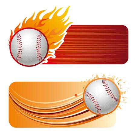 elemento de diseño de béisbol y llamas  Ilustración de vector
