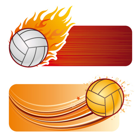 volleyball design element and flames Vector
