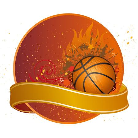 basketball ball in fire: design elements for basketball sport
