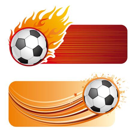soccer sport design element and flames Vector