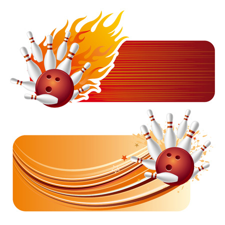 bowling design element and flames