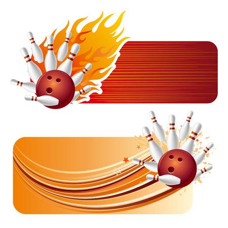 Bowling-Design-Element und Flammen Illustration