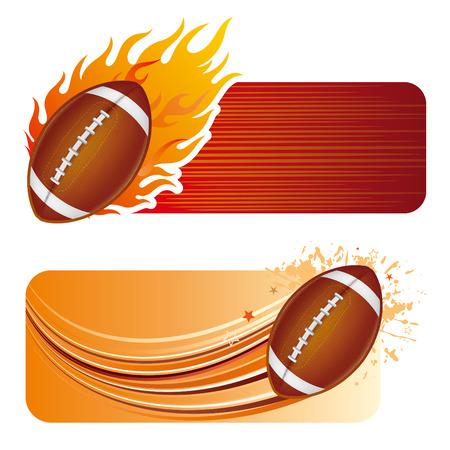 voetbal silhouet: American football ontwerp element en vlammen  Stock Illustratie