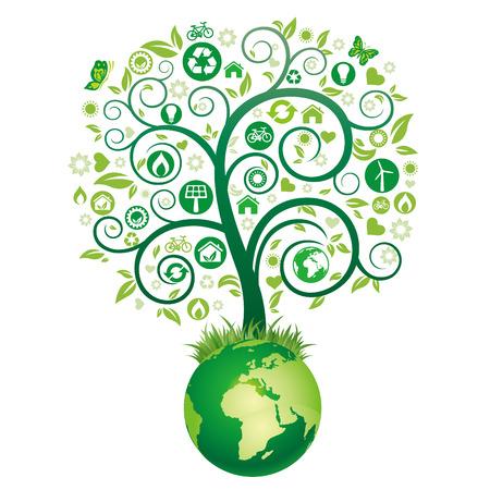 Ilustración de árbol verde, icono de medio ambiente