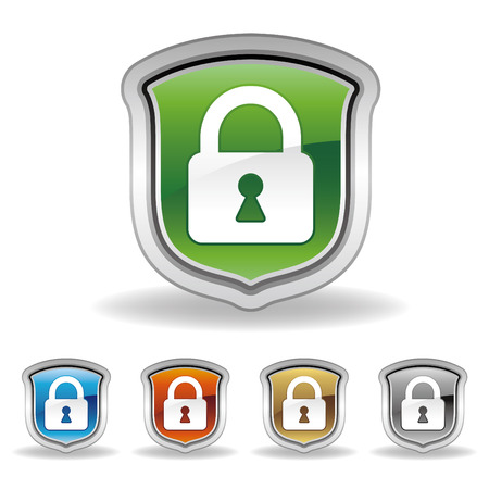 safe lock: shield and lock icon set