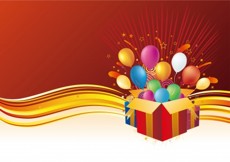 year curve: gift box and balloon, celebration background