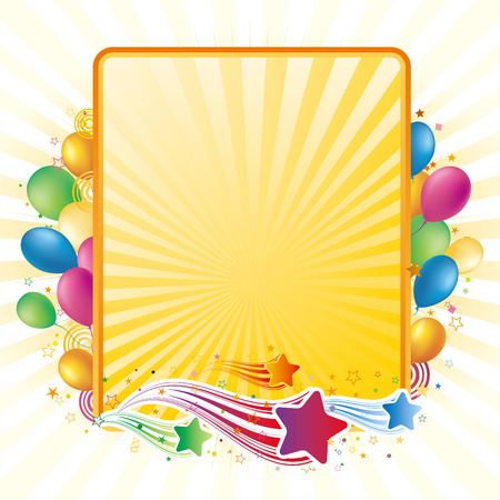 balloon border: colorful balloon and star, celebration background