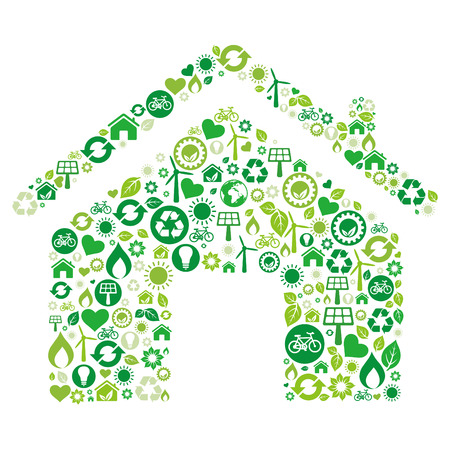 house illustration: green house illustration,environment icon