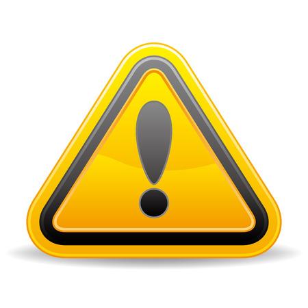 driehoekige waarschuwing ondertekenen op witte achtergrond