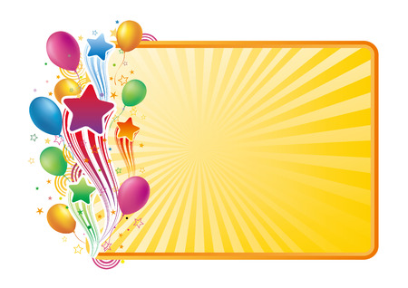star border: colorful balloon and star,  celebration background Illustration