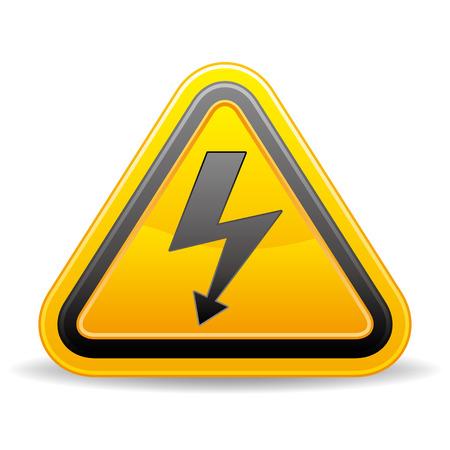 cautious: voltaje firmar sobre fondo blanco  Vectores