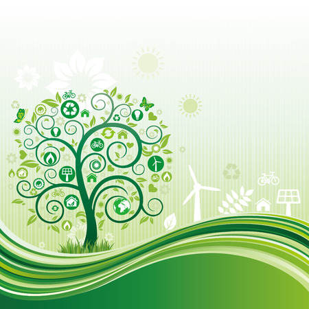 environment icon and tree,green flow background Vector