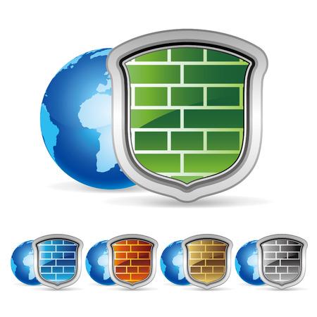 firewall: Abbildung der Sicherheitsmauer  Illustration