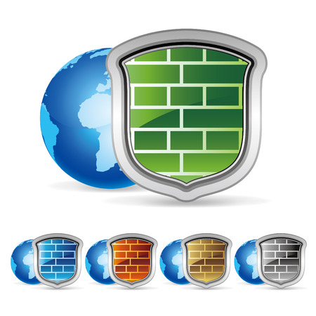 firewall icon:   illustration of security wall Illustration