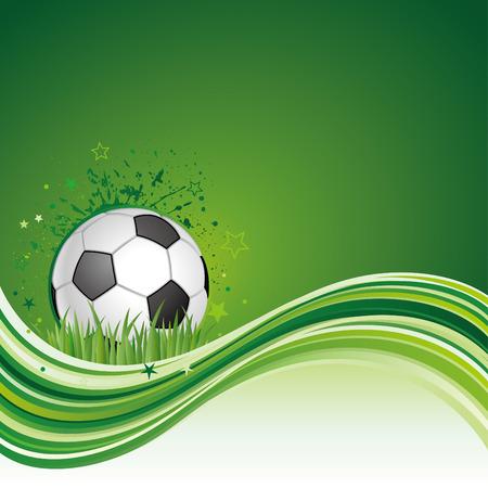 축구 스포츠 디자인 요소와 녹색 흐름 배경 일러스트