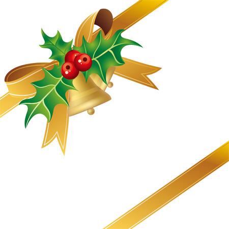 Elemento de diseño de ornamentos de Navidad y arco de oro de regalo  Foto de archivo - 8058101
