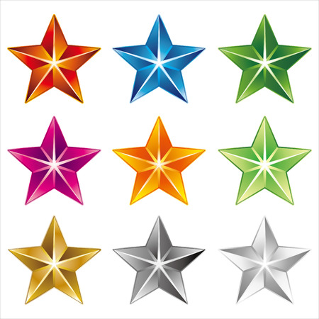 green and gold: star icon on white background Illustration