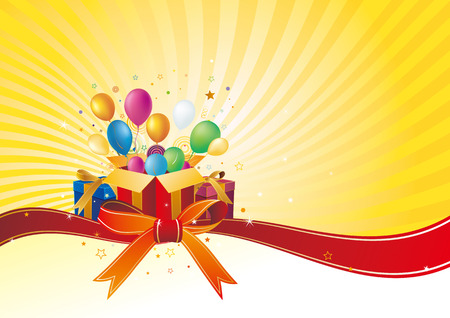 marco cumplea�os: caja de regalo y Globo, fondo de celebraci�n