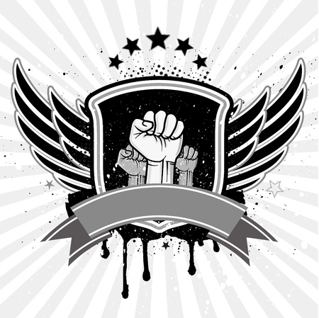 protest man: clenched fist and wing with shield