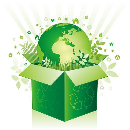 medio ambiente: caja verde y signo de medio ambiente de la tierra  Vectores